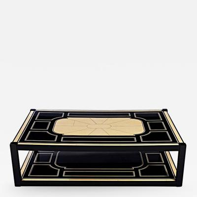 Maison Jansen Black Lacquer and Faux Ivory Coffee Table by Maison Jansen