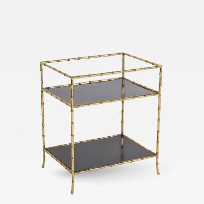 Maison Jansen Brass Faux Bamboo and Black Lacquer Bar Table