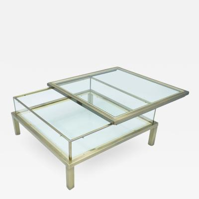 Maison Jansen Brass and Glass Coffee Table with a Sliding Top in Style of Maison Jansen 1970s