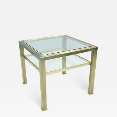 Maison Jansen Brass and Glass Side Table in Style of Maison Jansen 1970s