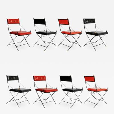 Maison Jansen Campaign Folding Chairs in the Style of Maison Jansen Set of Eight circa 1960