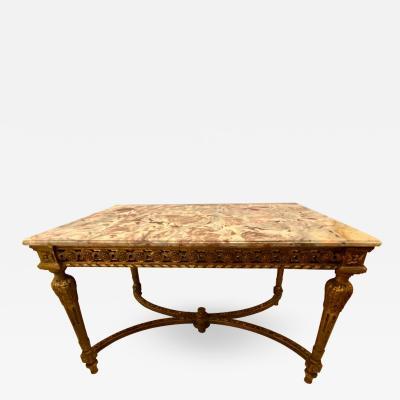 Maison Jansen Center Table or Console Louis XVI Jansen Style Stunning Marble Top Gilt Base