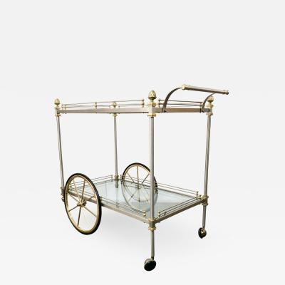 Maison Jansen Chrome and Brass Rolling Bar Cart by Maison Jansen Italy 1970s