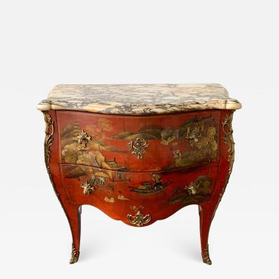 Maison Jansen Commode Louis XV Lacquered Chinoiserie by Maison Jansen France 1960s