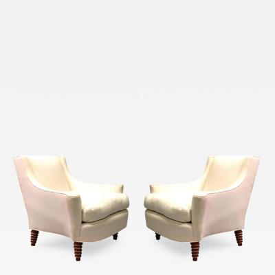 Maison Jansen Custom Pair of French Modern Neoclassical Lounge Chairs by Maison Jansen
