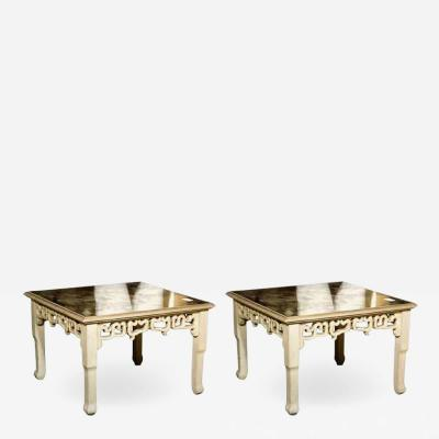 Maison Jansen Distressed Mirror Glass Top Squared Asian Style End Tables Stamped Jansen Pair