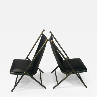 Maison Jansen EXCEPTIONAL PAIR OF MAISON JANSEN BRUSHED STEEL AND BRASS BAMBOO CHAIRS