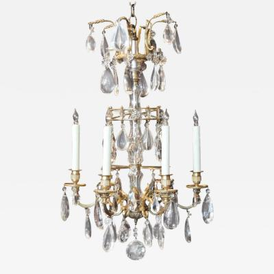 Maison Jansen Early 20th C French Crystal and Bronze Chandelier