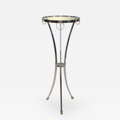 Maison Jansen Elegant Empire Style Maison Jansen Chrome and Brass Pedestal Table