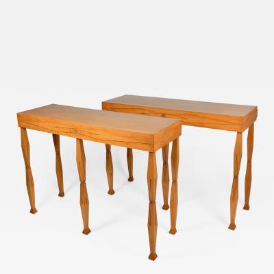 Maison Jansen Elegant pair of unique console tables