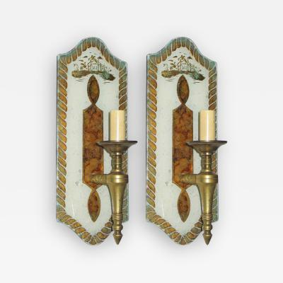 Maison Jansen Exceptional Pair of Verre glomis Sconces by Maison Jansen
