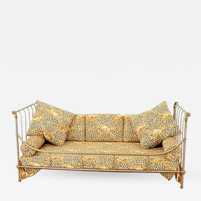 Maison Jansen Exceptional Steel and Brass French Daybed by Maison Jansen with Fine Details