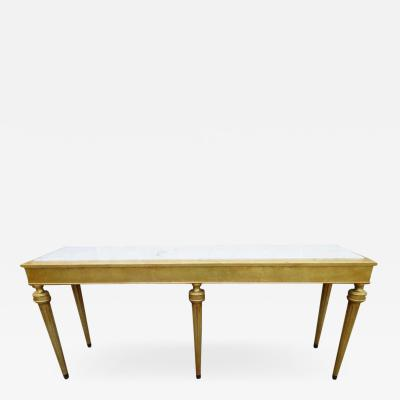 Maison Jansen Fabulous Jansen Style Hollywood Regency Marble Top Gilded Gold Console Table