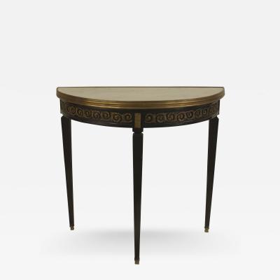 Maison Jansen French 1940s Ebonized Demilune Shaped Console Table