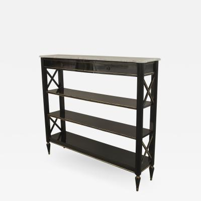 Maison Jansen French 1940s Ebonized with Gilt Trim Etagere Bookshelf