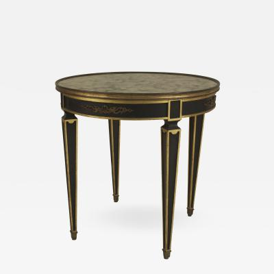 Maison Jansen French 1940s Empire style Ebonized and Gilt Trim Round End Table