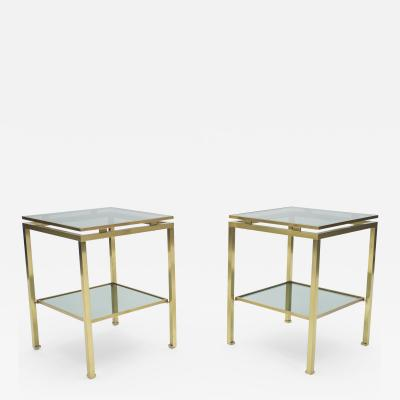 Maison Jansen French Brass end tables Guy Lefevre for Maison Jansen 1970s