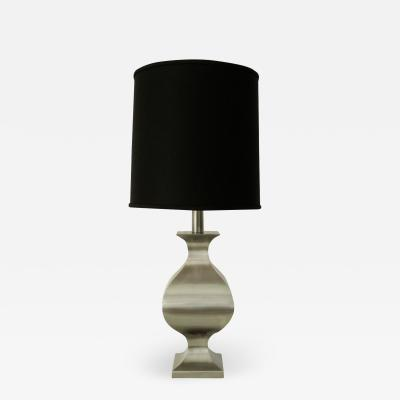 Maison Jansen French Brushed Stainless Steel Table Lamp by Francois See for Maison Jansen