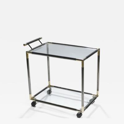 Maison Jansen French Hollywood Regency gunmetal brass bar cart 1970s