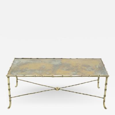 Maison Jansen French Maison Jansen brass bamboo mirrored coffee table 1960s