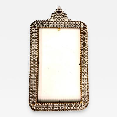 Maison Jansen French Mid Century Modern Gilt Wrought Iron Filagree Mirror by Maison Jansen