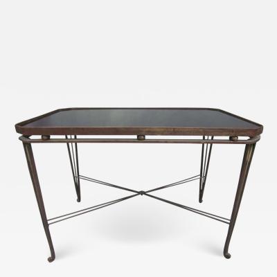 Maison Jansen French Mid Century Modern Neoclassical Gilt Iron Coffee Table by Maison Jansen