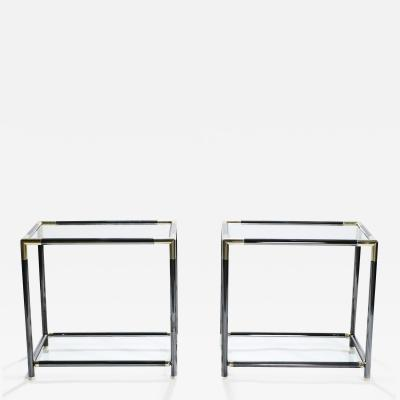Maison Jansen French gunmetal and brass end tables 1970s