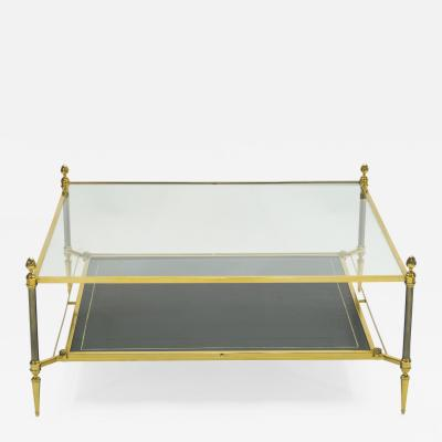 Maison Jansen French two tier Maison Jansen brass leather glass coffee table 1970s