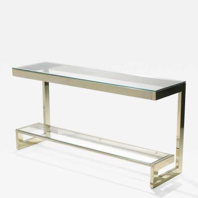 Maison Jansen Guy Lefevre large brass console table for Maison Jansen 1970s