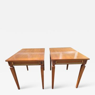 Maison Jansen Handsome Pair of Maison Jansen Style Walnut Side End Table Hollywood Regency