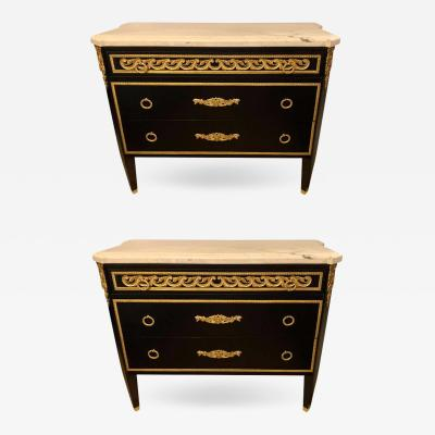 Maison Jansen Hollywood Regency Maison Jansen Style Ebony Commodes Cabinets or Nightstands