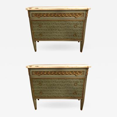 Maison Jansen Hollywood Regency Marble Top Commodes Chests Commode Nightstands Pair