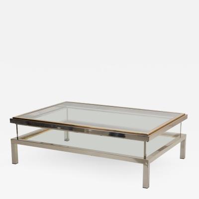 Maison Jansen Huge Maison Jansen Sliding Top Coffee Table in Brass and Chrome
