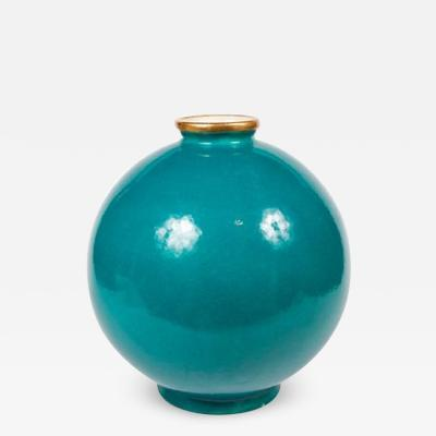 Maison Jansen Important Maison Jansen Turquoise Blue Glazed Ceramic Vase
