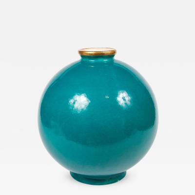 Maison Jansen Important Turquoise Glazed Ceramic Vase by Maison Jansen