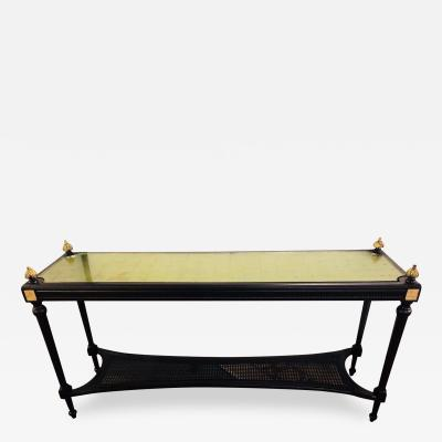 Maison Jansen Jansen Style Console Table Louis XVI Hollywood Regency Ebony and Gilt Decorated