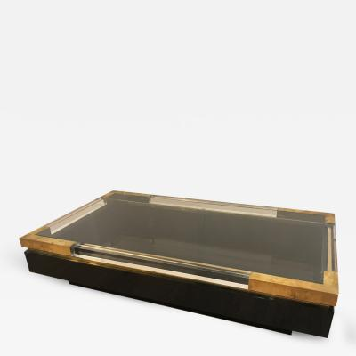 Maison Jansen Lucite and Brass Sliding Top Coffee Table