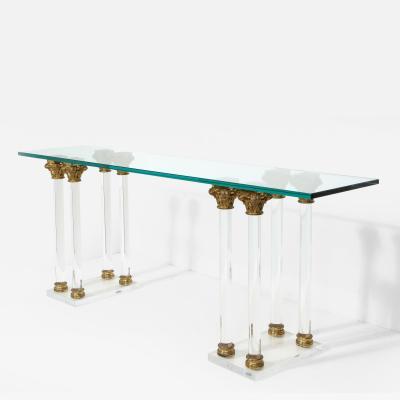 Maison Jansen Lucite and Bronze Console Table