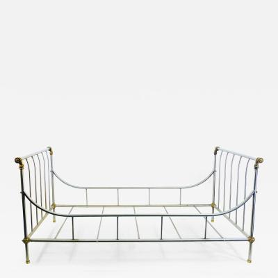 Maison Jansen MAISION JANSEN BRUSHED STEEL AND BRASS DAYBED