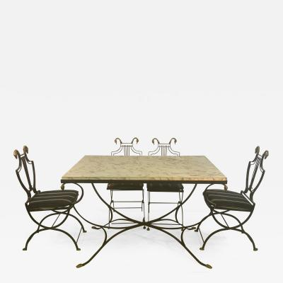Maison Jansen MAISON JANSEN BRASS SWAN HEAD DINING TABLE AND CHAIRS