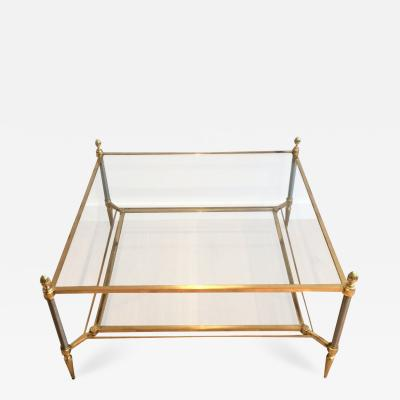 Maison Jansen MID CENTURY MAISON JANSEN BRASS COFFEE TABLE WITH 2 TIERS GLASS SHELVES