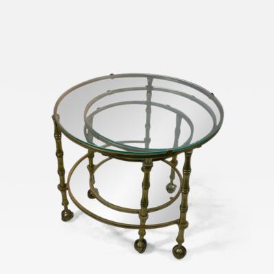 Maison Jansen MODERN SOLID BRASS FAUX BAMBOO EXPANSION NESTING TABLES