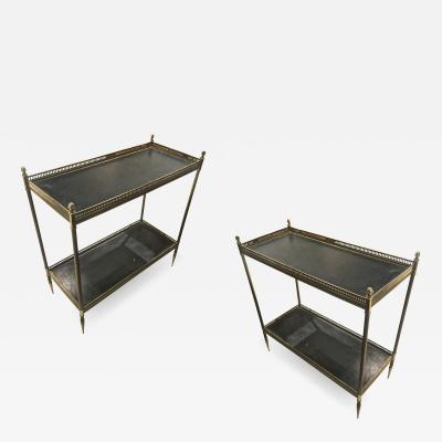 Maison Jansen Maison Jansen 1940s Pair of Two Tier Side Table with Black Leather Patinated Top
