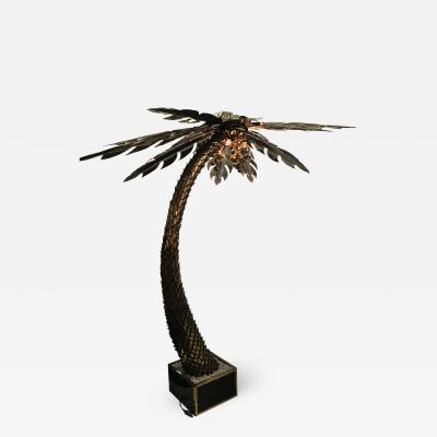 Maison Jansen Maison Jansen Brass Palm Tree Floor Lamp