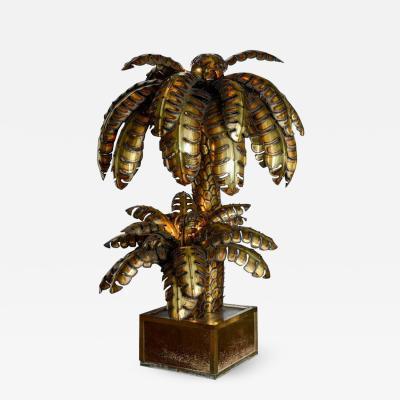 Maison Jansen Maison Jansen Brass Palm Tree Floor Lamp