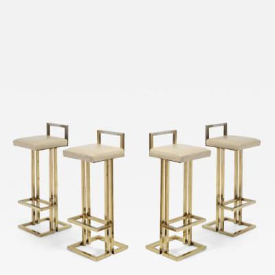 Maison Jansen Maison Jansen Brass Stools Set of Four 1970s