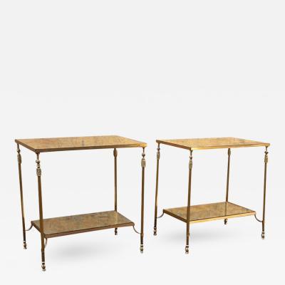 Maison Jansen Maison Jansen Bronze Hardware Pair of Two Tier Tables