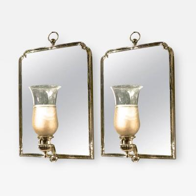Maison Jansen Maison Jansen Chic Pair of Neoclassic Silver Bronze Frame Mirrored Sconces