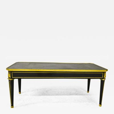 Maison Jansen Maison Jansen Chicest Black Coffee Table with Gold Bronze and Leather Top