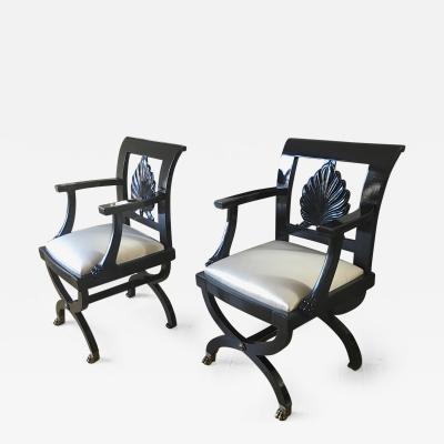 Maison Jansen Maison Jansen Chicest Black Neoclassic Exceptional Pair of Armchairs